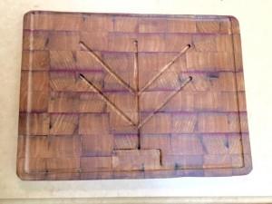 latest and fanciest cutting board. Again, wine barrel wood.